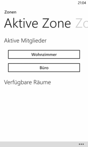 Windows Phone 8 - RaumController App Aktive Zone