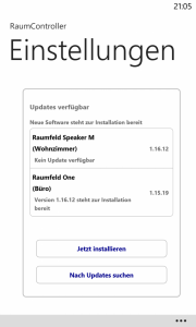 Windows Phone 8 - RaumController App Einstellungen Update