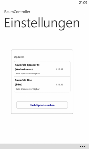 Windows Phone 8 - RaumController App Einstellungen Update installieren abgeschlossen