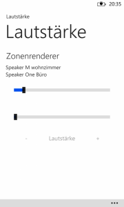 Windows Phone 8 - RaumController App Lautstärke