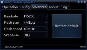 NodeMCU Firmeware Programmer baudrate