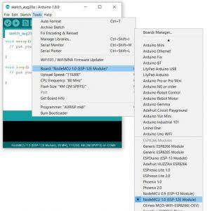 Arduino IDE - setup ESP8266 nodeMCU
