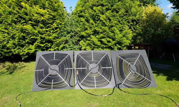 Solar- Poolheizung selbst gebauter Sonnenkollektor mit Umwälzpumpe