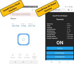 Sonoff POW R2 WIFI Schalter Smart Home Web-Interface Vergleich